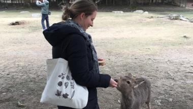 Sam feeding the deer.