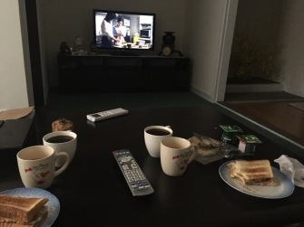 Enjoying our breakfast and watching Japanese TV shows
