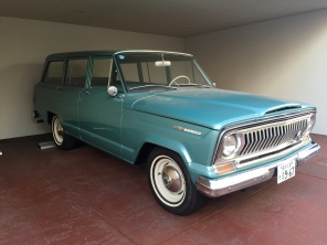 There were many cars from many parts of the world and many points of time. Here's a vintage Jeep Wagoneer