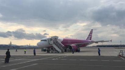 Our Peach Aviation A380 at Kansai International Airport